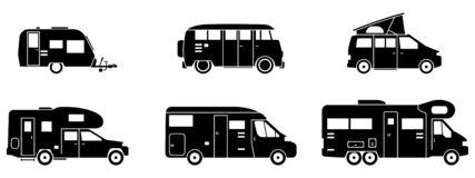 Camping - Various Campers in Black - Icons stock illustration