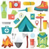 Camping vector camp adventure for tourism and travelling in forest illustration set of campground equipment and campfire. Isolated on white background Stock Photos