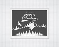 Camping vector frame template with travel poster Stock Photography