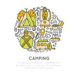 Camping vector hand draw concept, tent, lamp, caravaning rv icons in circle form with decorative elements. Sketched. Doodle travel and outroor camping icon Royalty Free Stock Photography
