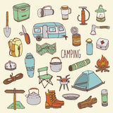 Camping vector hand drawn colorful icon set Stock Photo