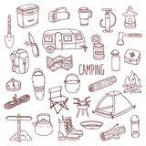 Camping vector hand drawn contour icon set Royalty Free Stock Images