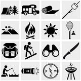 Camping vector icon set on gray. Camping icons set isolated on grey background.EPS file available Royalty Free Stock Images