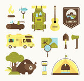 Camping vector icons. Flat style illustration cute Stock Images