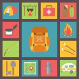Camping vector icons set. Tourism, hiking, travel and camping equipment flat vector icons Royalty Free Stock Image