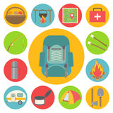 Camping vector icons set Stock Photo