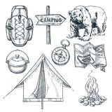 Camping vector sketch illustration. Camp stuff design elements isolated on white background vector illustration