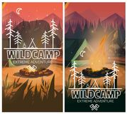Camping vertical background poster with With tent, campfire , mountains and forest on background. Vector illustration.  vector illustration