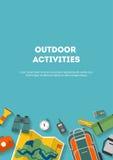 Camping vertical et tourisme de bannière sur un appartement extérieur Image libre de droits