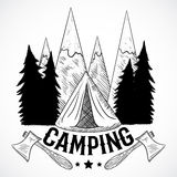 Camping. Vintage poster with mountain, forest, tent and axes. Isolated elements. Stock Photo