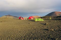 Camping in vulcano desert. Camp in volcano desert on Kamchatka stock images