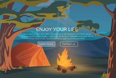 Camping, walking, hiking, outdoor night camp recreation and other sport adventures.. Website header banner elements layout. Presentation, flyer and poster Royalty Free Stock Image