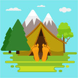 Camping weekend morning. Man is sleeping in a tent. Stock Images