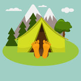 Camping weekend morning. Man is sleeping in a tent. Stock Photography