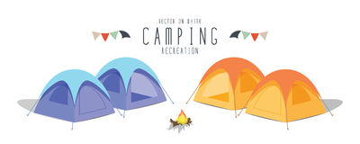Camping on white background. (Tent) Royalty Free Stock Photo