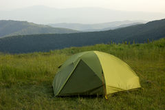 Camping in the wild mountains Royalty Free Stock Photo