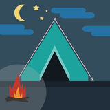 Camping in Wild Nature. At Night. Blue Tent with Bonfire surrounded by Cloudy Skies with Half Moon and Stars. Digital background flat vector illustration Royalty Free Stock Photos