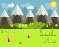 Camping in the wild. Three tents and a campfire in a beautiful landscape royalty free illustration