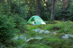 Camping in the wilderness of Norway at sunrise. Stock Photo