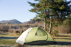Camping in the wilderness of Norway at sunrise. Royalty Free Stock Images