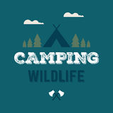 Camping wildlife vector logo Royalty Free Stock Photo