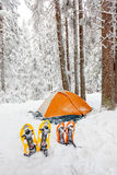 Camping during winter hiking in Carpathian Stock Photo