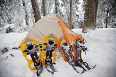 Camping during winter hiking   Royalty Free Stock Image