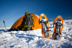 Camping during winter hiking in Carpathian mountains.  Stock Photo