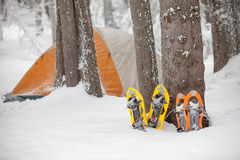 Camping during winter hiking in Carpathian mountains.  Royalty Free Stock Photography