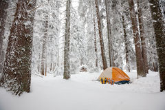 Camping during winter hiking in Carpathian mountains Royalty Free Stock Photos