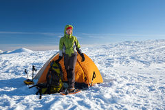 Camping during winter hiking in Carpathian mountains.  stock photo
