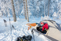 Camping during winter hiking in Carpathian mountains Stock Photos