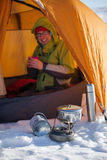Camping during winter hiking in Carpathian mountains Royalty Free Stock Images