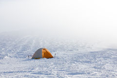 Camping during winter hiking in Carpathian mountains Royalty Free Stock Photography