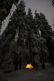 Camping during winter hiking in Carpathian mountains.  Stock Image