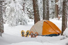 Camping during winter hiking in Carpathian mountains.  Royalty Free Stock Photos
