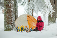 Camping during winter hiking in Carpathian mountains.  Royalty Free Stock Images