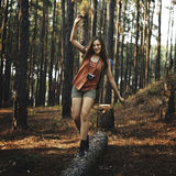 Camping Woman Fun Leisure Holiday Concept Stock Image