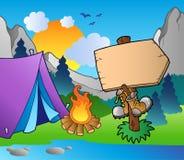 Camping wooden sign on lake shore. Illustration stock illustration
