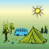 Camping wooden with tent and bus.Vector illustration Royalty Free Stock Photo