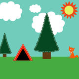 Camping. Woodland camping illustration with trees, tent, puffy white clouds, bright two-toned sun, and fox Stock Image