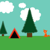 Camping. Woodland camping illustration with trees, tent, puffy white clouds, and fox Royalty Free Stock Photography