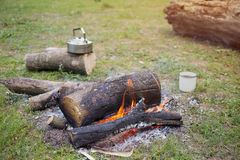 Camping in the woods on the banks Stock Images