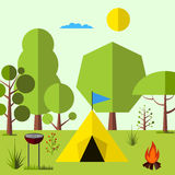 Camping in the woods Royalty Free Stock Photos