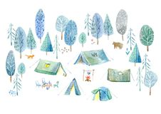 Camping in the woods.Tent, trees, bonfire, plants,fox,bear and floral. Landscape tourism.Watercolor hand drawn illustration.White background Stock Image