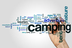 Camping word cloud. Concept on grey background royalty free stock images