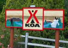 Camping y muestra de KOA imagen de archivo libre de regalías