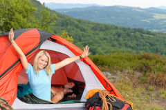 Camping young couple sunset tent climbing gear stock photography