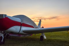 Camping with your airplane at sunrise royalty free stock image