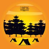 Camping zone with tents and landscape. Vector illustration design stock illustration